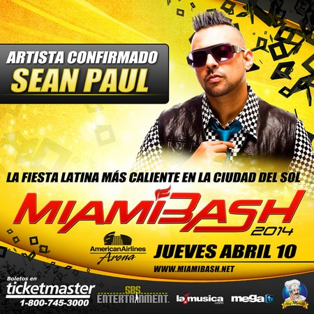 Miamibash confirmado SEAN PAUL GENERICO